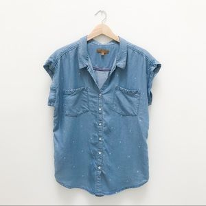 Jachs Girlfriend Chambray Top With Palm Trees